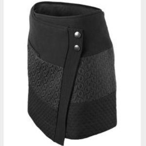 CAbi | Black Print Wrap Front Mini Skirt